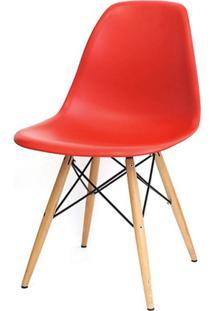 Cadeira Com Encosto E Pés Em Madeira Flórida Siena Móveis Vermelho