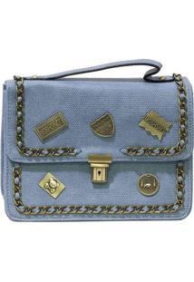 Bolsa Pequena Com Patches Khaki Azul