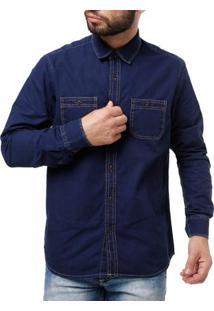 Camisa Manga Longa Jeans Masculina Elétron Azul