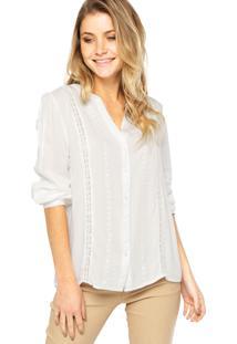 Camisa Manga Longa Anany Bordado Branca