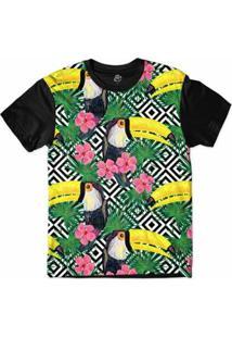 Camiseta Bsc Padrões E Listras Tucanos E Flores Sublimada Masculina - Masculino-Branco+Preto