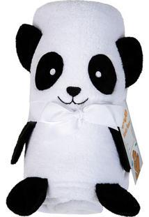 Manta Fleece Panda- Branca & Preta- 78X120Cm- Lelepper