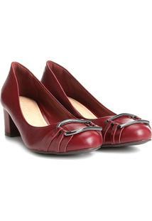 Scarpin Couro Shoestock Salto Baixo Argola - Feminino-Vinho