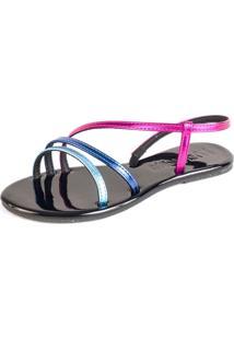 Sandalia Rasteira Mercedita Shoes Tiras Metalizadas Pink Azul