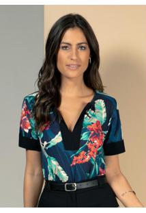 Blusa Floral Azul Com Recorte No Decote