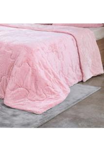 Edredom De Plush Queen Toque Extra Macio Rosa Quartzo - Bene Casa