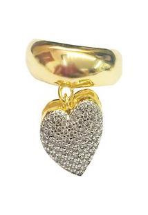 Anel Kumbayá Pingente De Coração Dourado