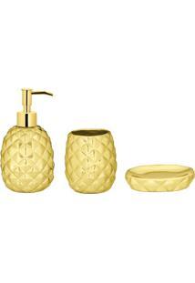 Jogo Para Banheiro Em Relevo- Dourado- 3Pã§S- Marmart