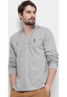 Camiseta Aleatory Manga Longa Capuz Masculina - Masculino-Mescla