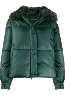 Emporio Armani Faux-Fur Collar Padded Jacket - Verde