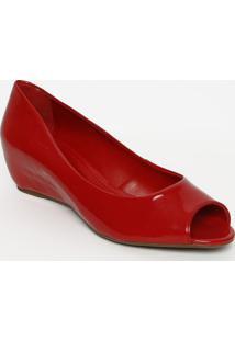 Peep Toe Anabela Envernizado - Vermelho - Salto: 3Cmarezzo & Co.