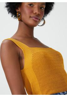 Amaro Feminino Regata Tricot Cordão, Amarelo
