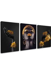 Quadro 80X120Cm Mulheres Negras Mãos Douradas Beltza Canvas