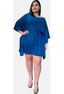 Vestido Curto Casual Tnm Collection Plus Size Social Festa Azul Turquesa