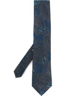 Etro Gravata De Seda Com Padronagem - Azul