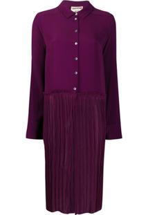 Semicouture Vestido Casual Color Block - Roxo