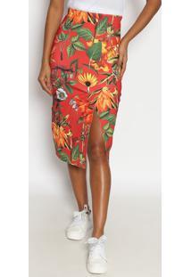 121a4e8943 Privalia. Saia Floral Poliester Embutir Midi Fenda Com Fendas Triton  Publish Vermelha ...