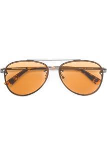 Farfetch. Óculos De Sol Marrom Feminino Alexander Mcqueen Queen De Sol - Aviador  Mcq 94f3b181d3