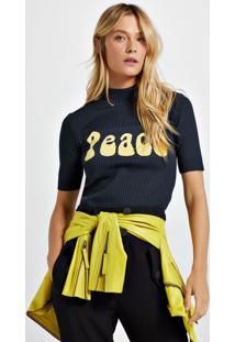 Blusa De Tricot Peace Azul Lennon