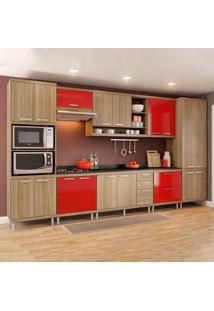 Cozinha Completa Com Tampo 17 Portas 5833 Argila/Vermelho - Multimóveis