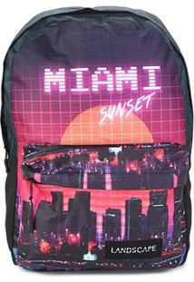 Mochila Dmw Estampa Miami Sunset Vaporwave Masculina - Masculino-Preto