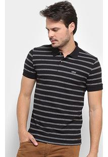 Camisa Polo Colcci Listrada Masculina - Masculino-Preto+Branco