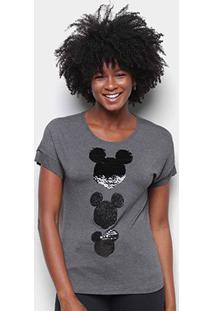 Blusa Cativa Disney Mickey Paetê Feminina - Feminino-Mescla Escuro