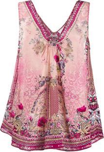 Camilla Printed Sleeveless Blouse - Rosa