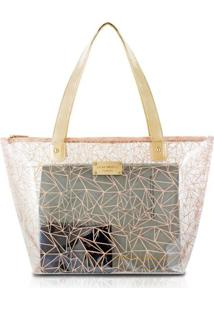 Bolsa Shopper Transparente Jacki Design Crystal Bege