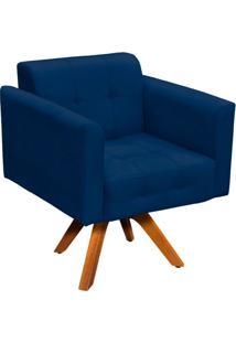 Poltrona Decorativa Giratória Gran Elisa Base Madeira Suede Azul Marinho - D'Rossi