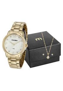 Kit De Relógio Feminino Mondaine Analógico + Brinco + Colar - 83371Lpmvde1K1 Dourado