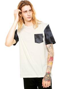 Camiseta Globe Tie Dye Print Pocket Bege