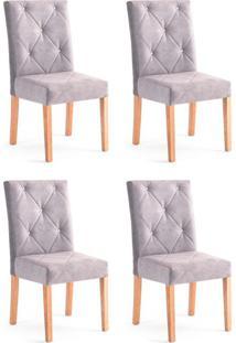 Conjunto Com 4 Cadeiras De Jantar Angel Cinza E Castanho