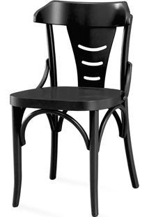 Cadeira De Madeira Colorida Torneada - Laca Preta - Augustine - 45X50,5X83 Cm