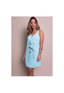 Camisola Malha Bella Fiore Modas Estampada Nathália Azul Claro
