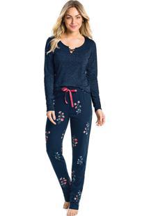 Pijama Longo Floral Feminino - Azul Escuro - P