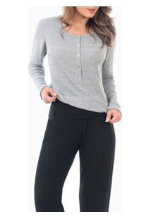 Pijama Longo Mescla Com Peitilho Laibel (15.011550) Preto
