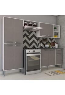 Cozinha Completa Compacta Com Armã¡Rio E Balcã£O Com Tampo Coimbra Multimã³Veis Branco/Lacca Fum㪠- Incolor - Dafiti