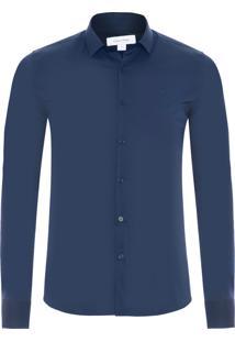 Camisa Manga Longa Slim Cannes - Azul Escuro
