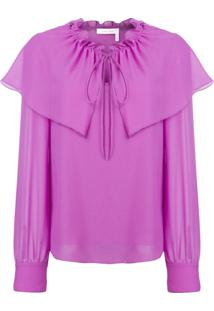 See By Chloé Flouncy Neck Tie Blouse - Roxo