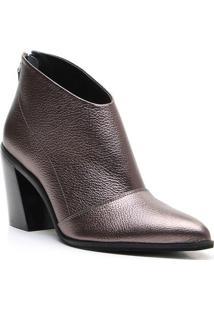 Ankle Boot Em Couro Com Recorte - Cinza Escuro- Saltvicenza