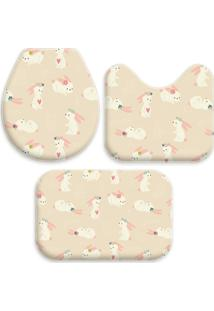 Jogo Tapetes Love Decor Para Banheiro Cute Rabbits Único - Kanui