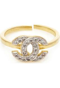 Anel Banhado A Ouro Chanel De Falange - Feminino-Dourado
