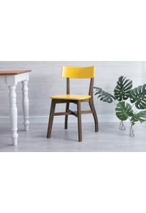 Cadeira De Madeira Para Restaurante Bella - Castanho E Amarelo 44X51X82 Cm