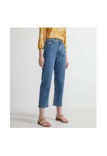 Calça Cropped Reta Em Jeans Com Cintura Alta | Marfinno | Azul | 42