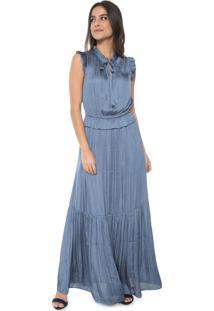 Vestido Banana Republic Longo Cetim Soft Maxi Azul
