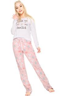 Pijama Cor Com Amor Love To Smile Branca/Rosa