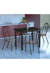 Conjunto De Mesa Genova Com 4 Cadeiras Alicante Preto Prata E Branco Floral