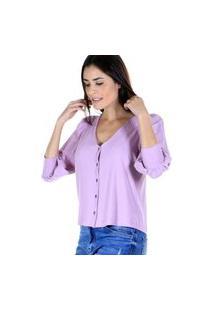 Blusa Decote V Malha Canelada Com Botões Frontais