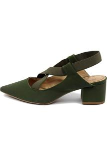 Scarpin Slingback Equipage (Ai1114) Verde Musgo